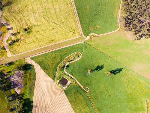 Aerial landscape of farmland with patterns of mown hay