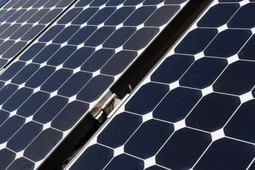 Close up of photovoltaic solar panels