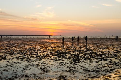 People out on the beach at low tide with setting sun