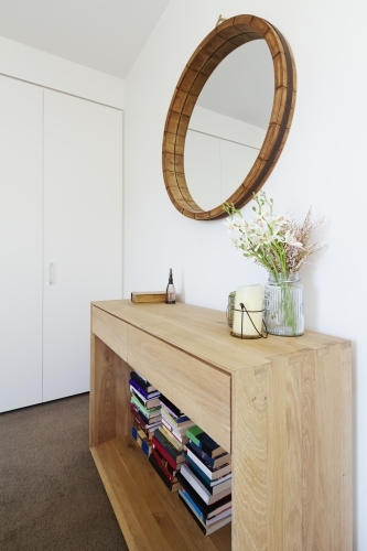 Interior decoration styling of wooden sideboard buffet and mirror