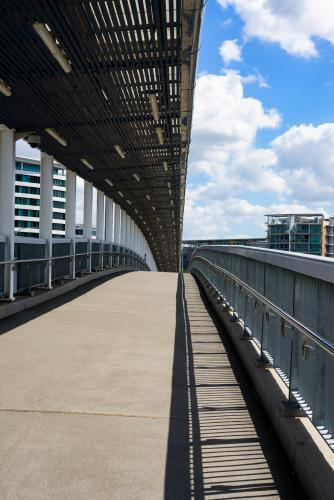 View of the pedestrian and bikeway on the Go Between Bridge over the Brisbane River