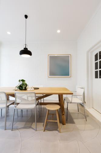 Modern scandinavian styled interior dining room with pendant light