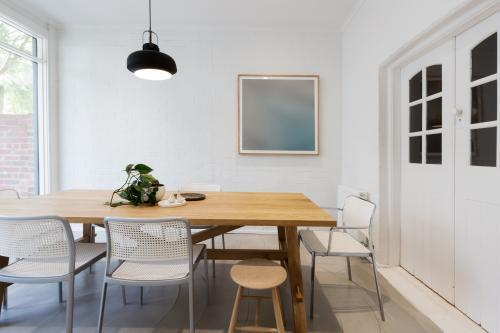 Modern scandinavian styled interior dining room with pendant light horizontal