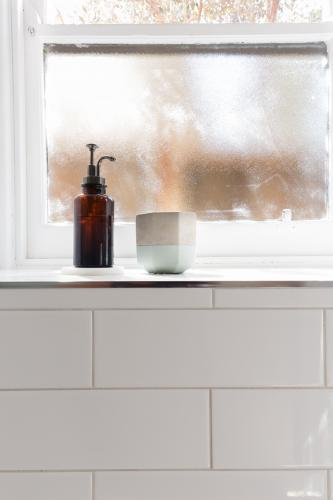 Bathroom soap dispenser and pot on window ledge with background of negative space for text