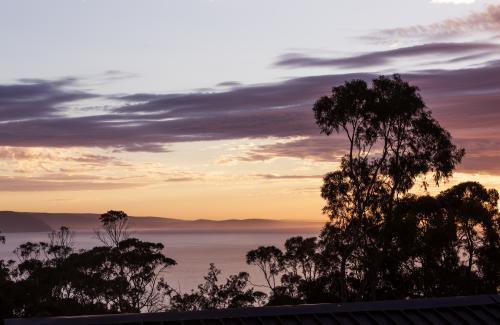 Sunrise view from tree top balcony over Lorne bay in Victoria Australia