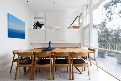 Beautiful scandinavian style dining room in mid century modern home