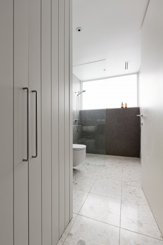 Contermporary bathroom of mosaic tiles and walk in shower with storage cupboard