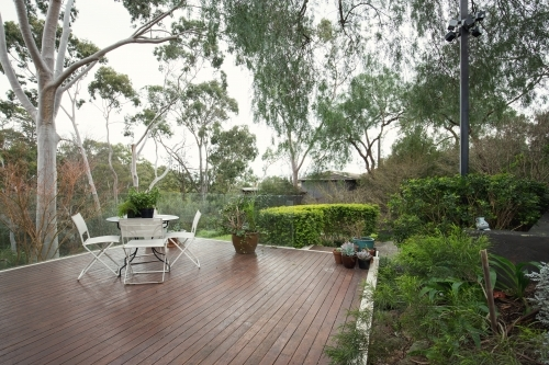 Deck patio amongst native Australian landscaping and gum trees