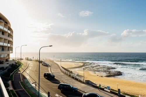 Newcastle beach at sunrise from a balcony