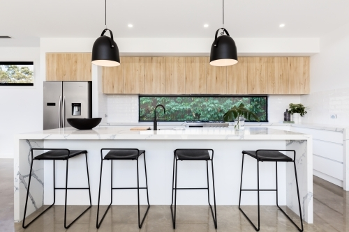 Large luxury Australian kitchen with marble island bench