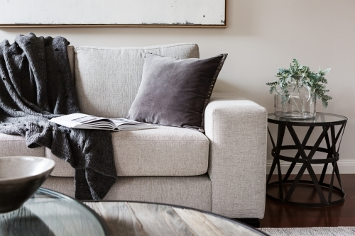 Inviting comfortable sofa with throw rug and magazine