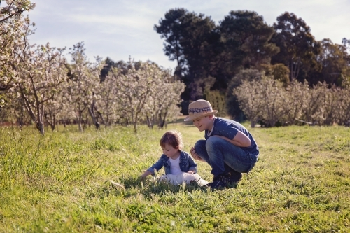 A Boy Crouching And Playing With His Little Sister In An Orchard