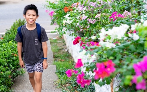 a boy, walking on a pathway lined with shrubs and bougainvillea