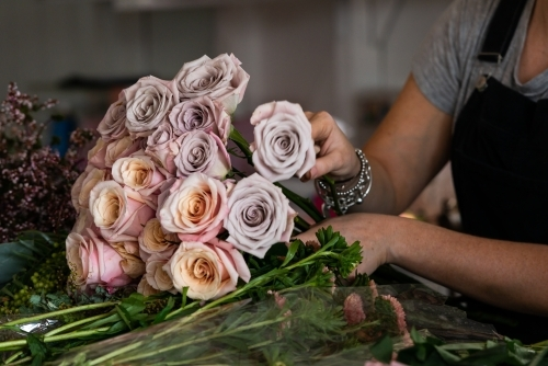 A close up of a person arranging a beautiful bunch of roses