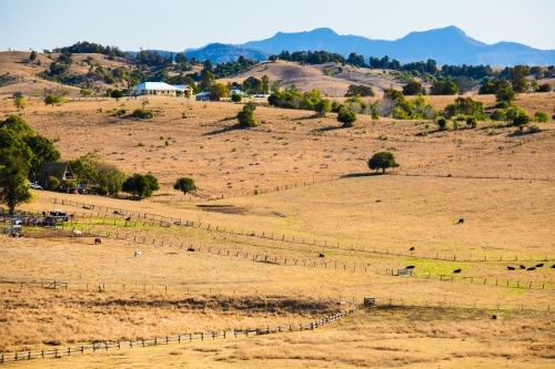 A country rural scene of brown grassy paddocks and hills in Boonah, Australia.