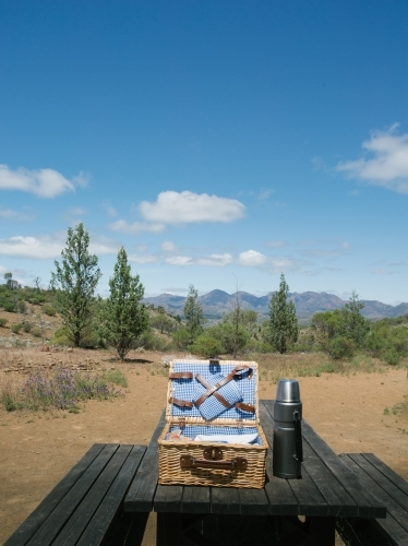 A picnic basket at a rest area in a national park