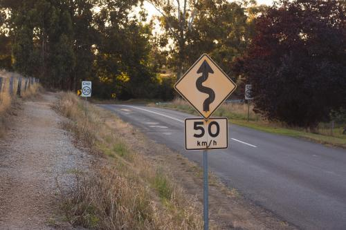 A speed and windy road sign in a country setting