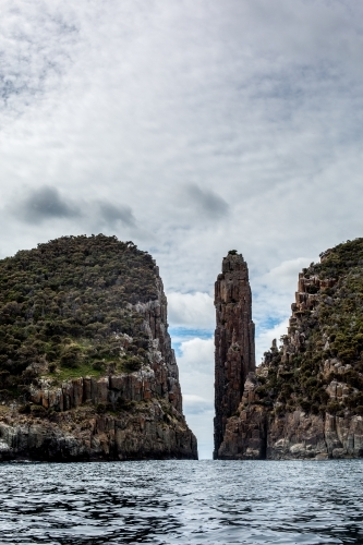 A view of Cape Hauy and the Candle Stick from the water