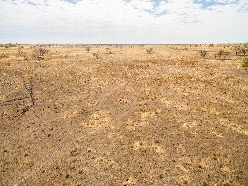 Aerial image of drought paddock