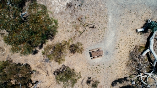 Aerial shot of trees and picnic table in remote area