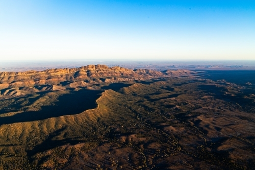 aerial shots of Flinders Ranges in early morning light