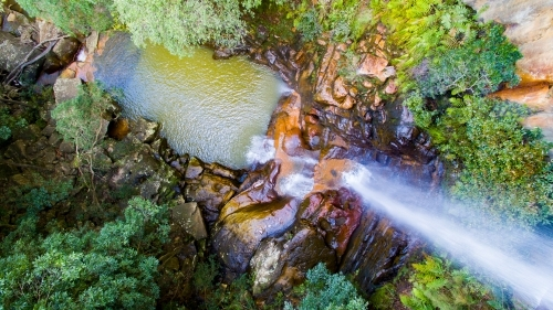 Aerial view looking down on Kelly's Falls in the Garawarra State Conservation Area, Helensburgh