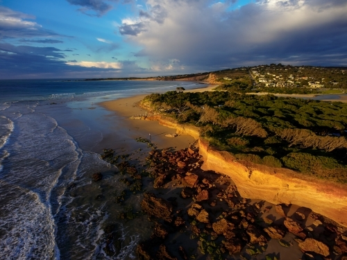 Aerial View of Anglesea Beach and Town