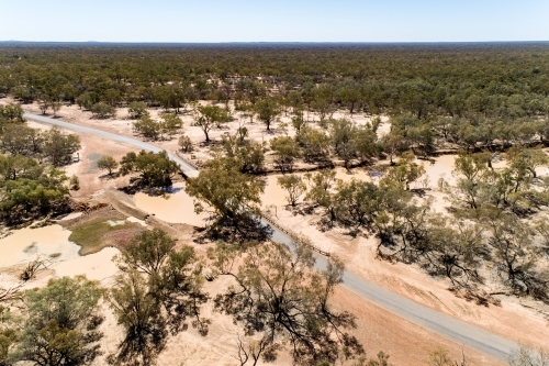 Aerial view of bridge over the Warrego River at Cunnamulla, Queensland.
