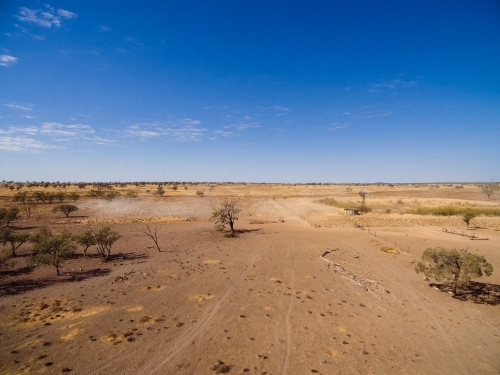 Aerial view of dry barren land