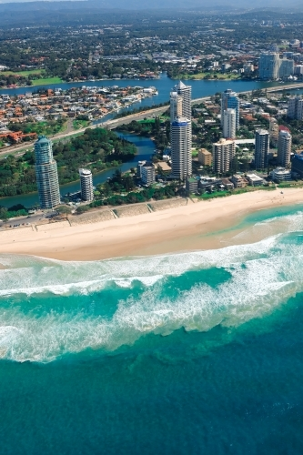 Aerial view of Main Beach on the Gold Coast