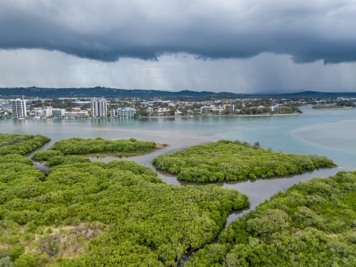 Aerial view of mangroves in a tidal river under dark storm clouds