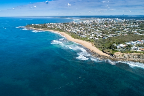 Aerial view of Moffat Beach, Caloundra, and Bribie Island.