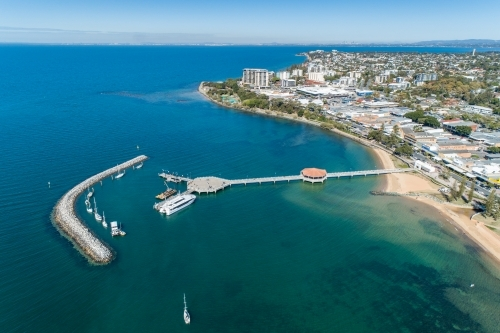 Aerial view of Redcliffe Pier and coastline.
