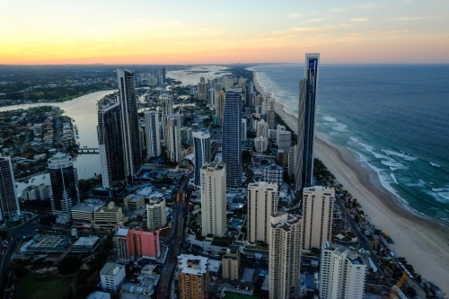 Aerial view of the Gold Coast looking north towards Surfers Paradise at dusk