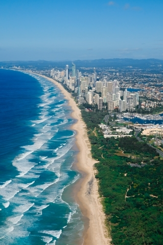 Aerial view of the Gold Coast looking south from The Spit towards Surfers Paradise