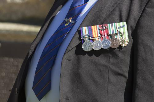 Detail of war medals on ANZAC Day
