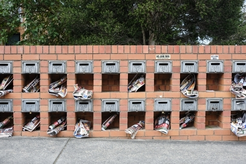 Apartment letterboxes containing junk mail