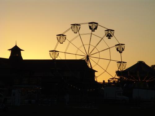 Silhouette of ferris wheel and buildings at a showground