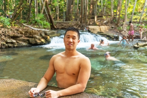 Asian Australian at swimming hole