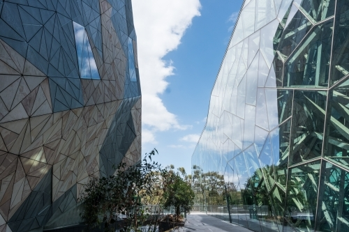 Architectural detail of contemporary buildings in Federation Square, Melbourne