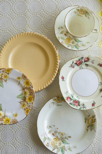 Vintage tea cup and plates from overhead