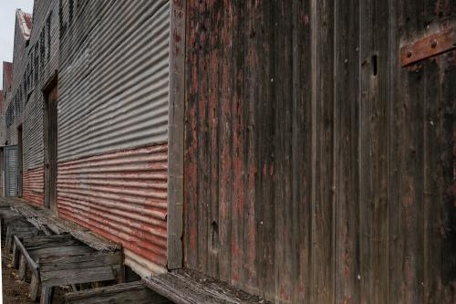 Rustic old warehouse with corrugated wall