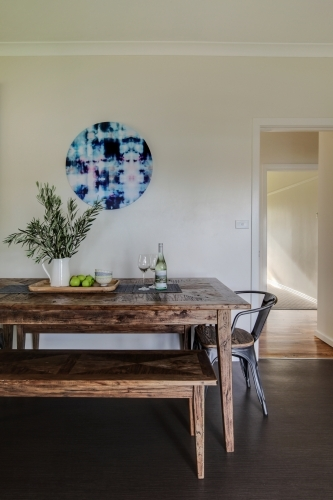 Kitchen interior with rustic timber table