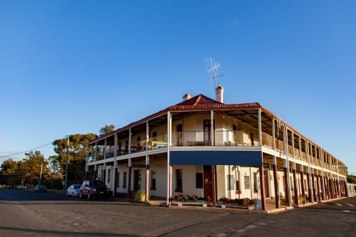 Trundle Hotel on a corner of the wide main street of town