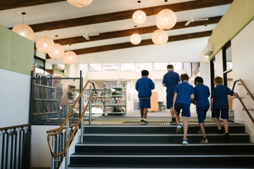 Group of male primary school students walking through a library