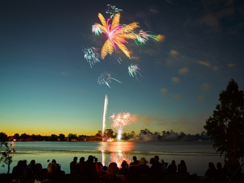 Fireworks by a lake on Australia Day