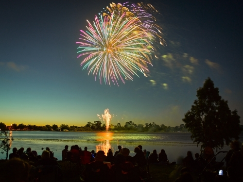 Fireworks over a lake on Australia Day