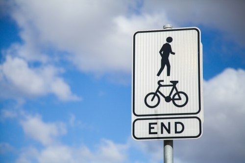 Sign showing the end of cycleway footpath