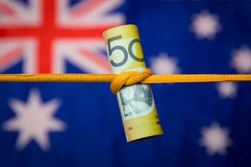 Australian Fifty Dollar Note Tied in a Knot with flag