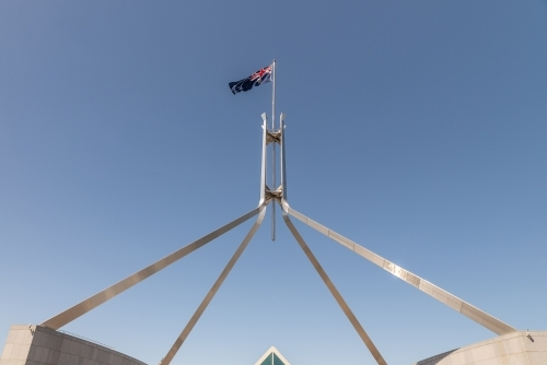 Australian flag above parliament House, Canberra